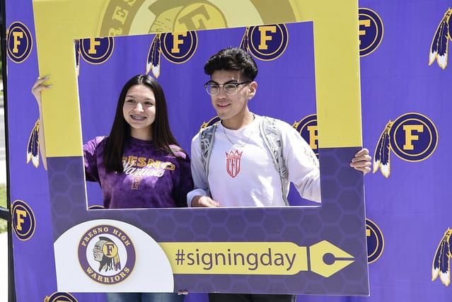 Fresno High School students pose for a photo at a recent College Signing Day